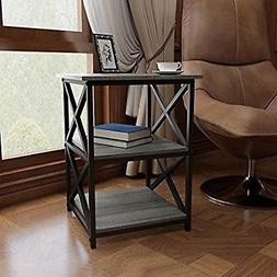 Side End Table Furniture Grey Accent Vintage Industrial Blac
