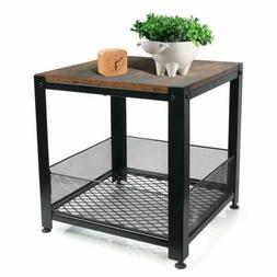 Side Table End Mesh Shelves Industrial Wood and Metal Frame