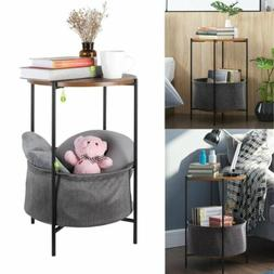 Side Table End Shelves Industrial Wood and Metal Frame With
