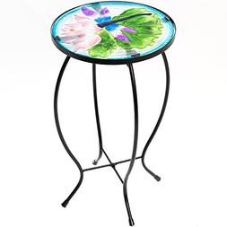 Side Table Outdoor Garden Patio Metal Accent Desk with Round