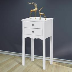 Side Table Night Stand End Accent Table W/ 2 Drawers Furnitu