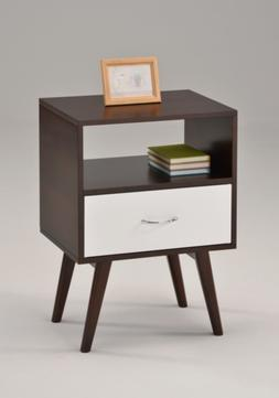 eHomeProducts Side End Table/Nightstand with Drawer/Shelf, W
