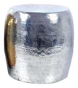 Madhu's COLLECTION Silver Finish Cylinder Shape Side Table/S