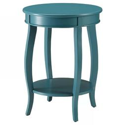 Simple Elegant Aberta Round Modern Side Table Teal with Shel