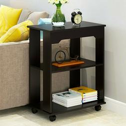 Small End Table Narrow Side Storage Wood Living Room Furnitu