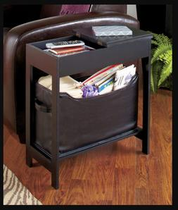Small End Table Side Living Room Storage Bin Wood Furniture