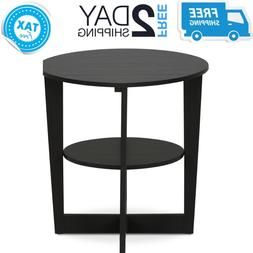 Small Round End Side Table With Storage Shelf Black Wooden O