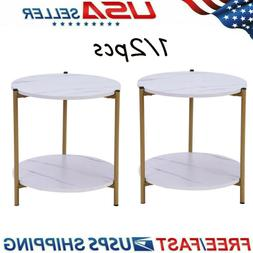 Small Round Side Table Furniture End Accent Modern Wood Cont