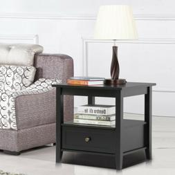 Sofa Side End Table w/Drawer and Storage Shelf for Living Ro