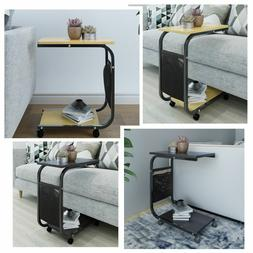 Sofa Side End Table with Storage Pocket Coffee Tray Bed Couc