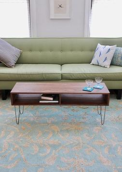 Solid Walnut Coffee Table with Stainless Hairpin Legs