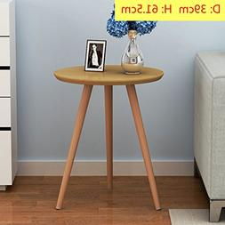D&L Solid wood Waterproof Side table, Round End table Modern