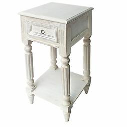Spacious Mango Wood Side Table with Metal Ring Handle, White