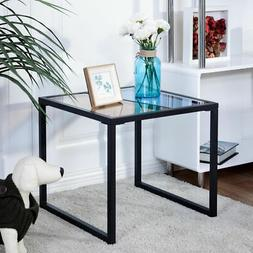Square Side End Table Tempered Glass Top Metal Frame Living