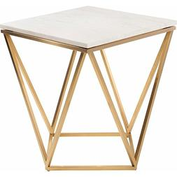 Square Side Table with Gold Frame