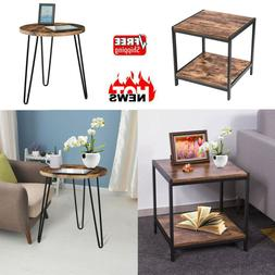 Square Vintage End Table Metal Sofa Side Table With Storage
