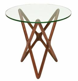Star Side Table in Glass and American Walnut by Nuevo - HGEM
