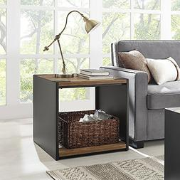 """WE Furniture 24"""" Steel and Wood Industrial Side Table"""
