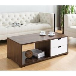 Stylish Coffee Table With Double Sided Drawers, Brown