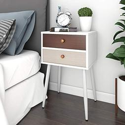 Lifewit End Table Side Table Nightstand with 2 Fabric Drawer