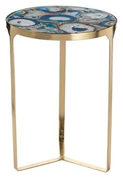 """""""La Sardaigne"""" 20"""" Tall Brass Side Table / End Table, Blue A"""