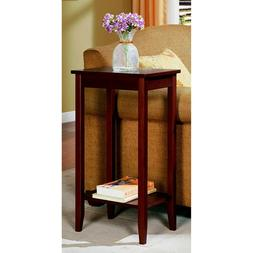 Tall Wood End Table Side For Small Space With Storage Shelf