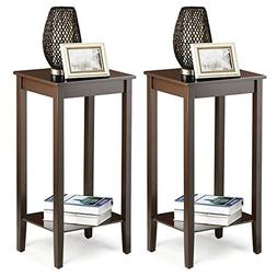 Yaheetech Tall Wood End Table Sofa Side Coffee Table with Lo