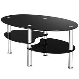 Tempered Glass Oval Side Coffee Table Shelf Chrome Base Livi