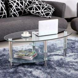 Tempered Glass Oval Side Coffee Table Transparent Round Livi