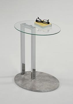 Tempered Oval Glass Top / Cement Grey Base Chrome Modern Sid
