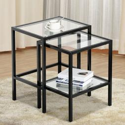 2 Pcs Modern Black Metal Glass Nesting Side End Tables with