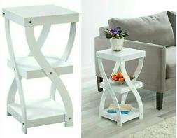 Twisted Side Table - White Wood 3 Tier Sofa Modern Table