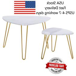 Two Colors  Marble Iron Feet Coffee Table Side 2 Sets Side T
