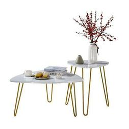 Unique Table Top Shape 2 Sets Marble Iron Feet MDF Coffee Ta