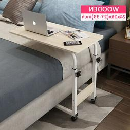 US Mobile Rolling Bed Side Table Laptop Stand Computer Study