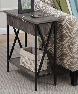 USB Side Table With 2 Electric Ports Flip Top Accent Storage