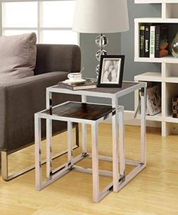 Verel Wooden Two Piece Nesting Side Table, Sofa Side Accent