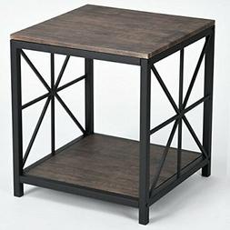 Vintage Dark Brown Black Metal Frame Side End Table with Low