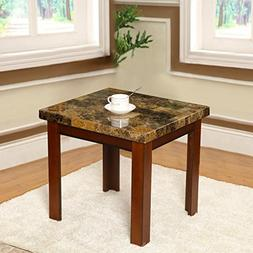 Walnut Color Wood End Side Table Imitation Marble Top 22x21""