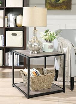 Weathered Grey Oak Finish Metal Square Chair Side End Table