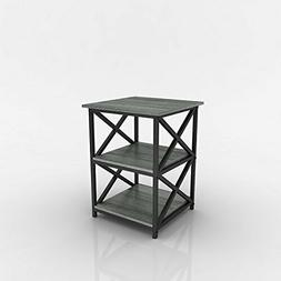 Weathered Grey Oak Finish Metal X-Design Chair Side End Tabl