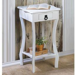 White Accent Side Night End Table with Curved Legs Bedroom L