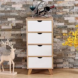 White/Ash Oak Finish Side End Table Nighstand with Four Draw
