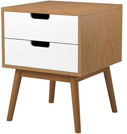 White / Ash Oak Finish Side End Table Nighstand with Two Dra