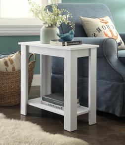 White Finish 2-tier Chair Side End Table with Shelf Tables F