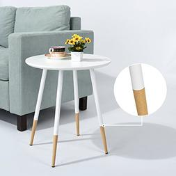 White Finish Mid-Century Style Round Side End Table with Woo
