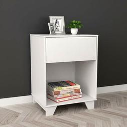 White Finish Nightstand Side End Table with Drawer and Botto