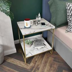 Roomfitters White Marble Print Side Table with Gold Metal Fr