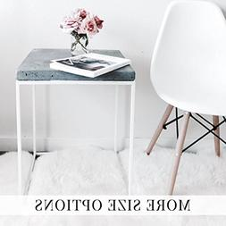 White Steel Cube w/ Concrete Top - Side Table, End Table, St