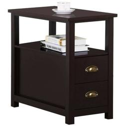 Decor Therapy Wilson 1 Drawer Wood and Metal Round Side Tabl